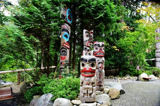 Haida totem poles, Capalano Suspension bridge park, B.C.