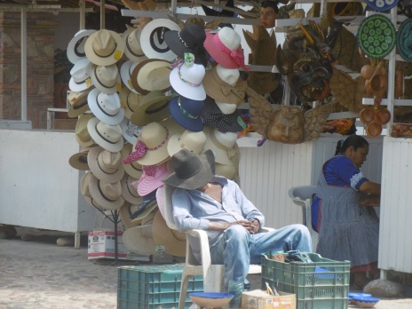 Slow day for hat sales.