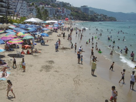 Many Mexican families share the beach during the celebration of Semana Santa.